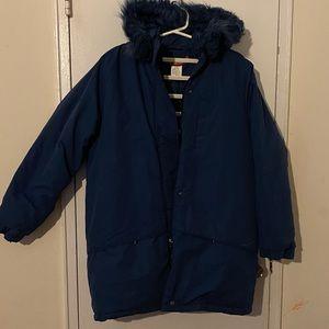 Blue fur hooded winter coat